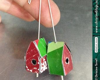Teeny Golden Flowered Birdhouses -- Upcycled Tin Earrings