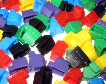 Vintage 1970s Miniature Plastic Colored Houses or Game Pieces Set of 95