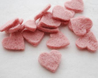 100% Wool Felt Heart Die Cut - 28mm - 100 Count - Dusty Rose Pink