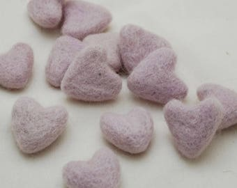 3cm 100% Wool Felt Hearts - 10 Count - Light Thistle Purple