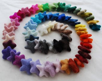 100% Wool Felt Stars - 72 Assorted Felted Stars