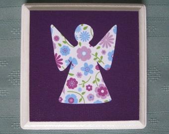 "Angel 5"" x 5"" Wood Plaque - Springtime in Purple - Baby Girl Room Decor - Nursery Wall Art - Free Shipping"