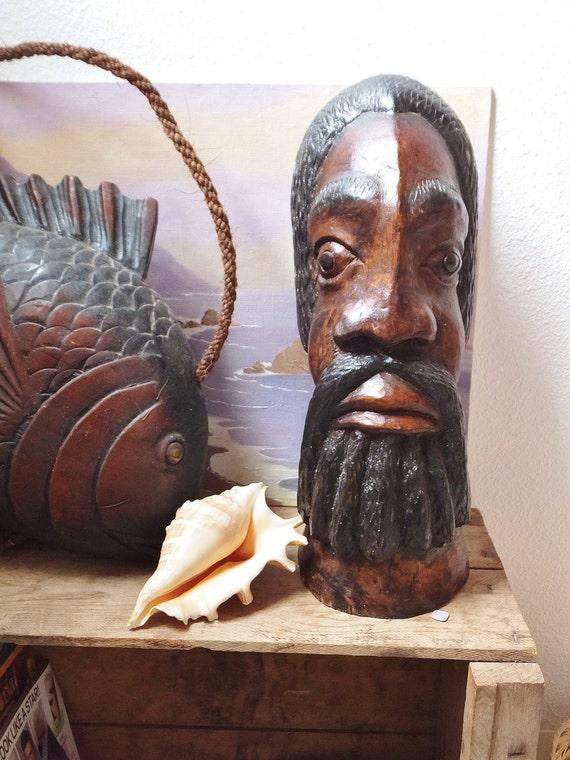 Impressive hand carved wooden african bust head dark wood