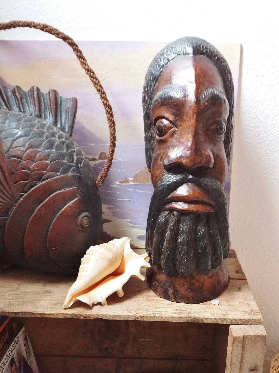 Impressive hand carved wooden african bust head dark wood