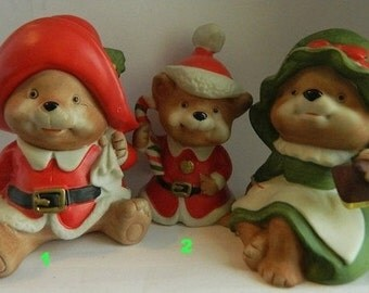 Christmas Bears, Mama, Papa & Baby Bear, Three Little Bears, 3 Little Bears Homco 1970's Trio, Santa's Christmas Bears X-Mas Holiday
