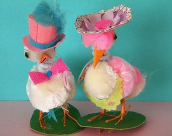 Vintage Easter Chenille Chicks with Hats and Fancy Clothes Japan