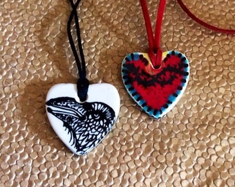 Sacred Heart Raven Talisman Pendant Handpainted Ceramic Ready to Ship
