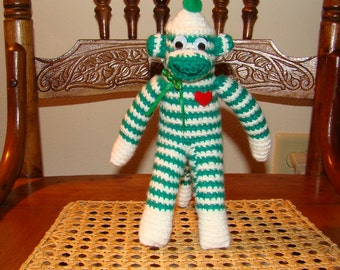 Mini Crocheted Little  Green and White Striped Sock Monkey with Heart