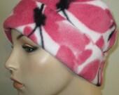 Pink Butterflies Anti Pill Fleece Pillbox Hat, Winter Hat, Cancer, Chemo Hat, Warm Hat