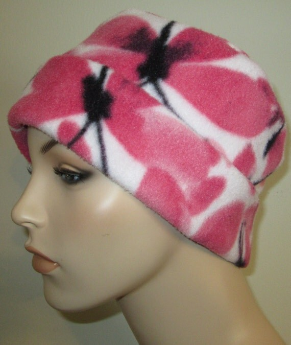 Pink Butterflies Anti Pill Fleece Pillbox Hat, Winter Hat, Cancer, Chemo Hat, Warm Hat