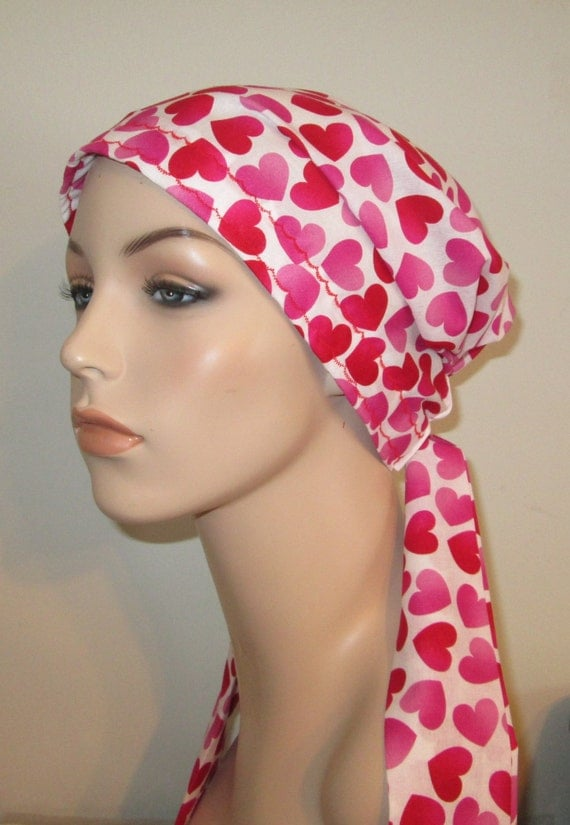Hearts Chemo Scarf, Hat, Cancer Hat, Hijab, Alopecia MADE in USA