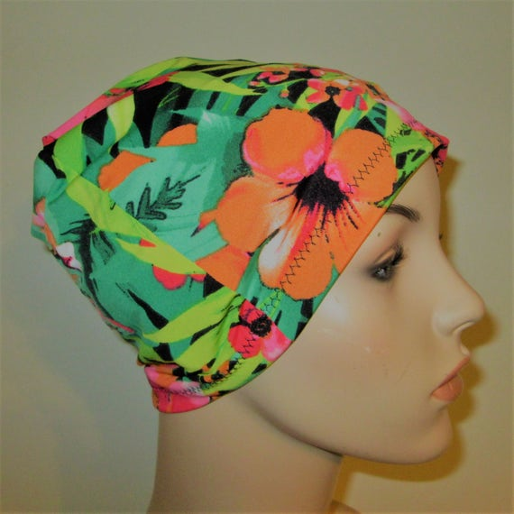 Chemo Hat Beanie Tropical Lime Green Lycra Sleep Cap, Cancer Hat, Alopecia