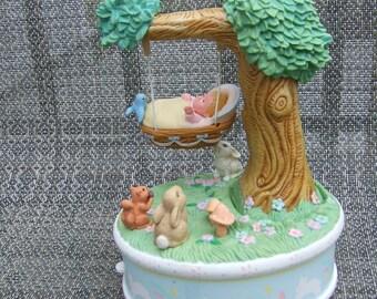 Enesco Baby in Cradle Musical Figurine (Vintage)