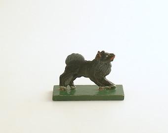 Antique Miniature Wood Dog Figurine Erzgebirge Flachfiguren Germany Flat Figurine