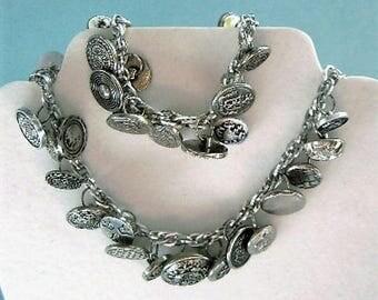 Custom Order...OOAK vintage button charm necklace & bracelet set