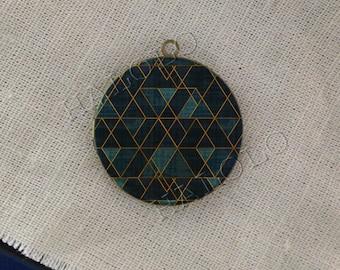 Blue Triangle round antique brass locket 32mm  (LD227)