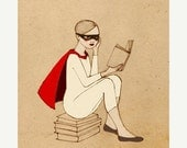 SALE SUPERHERO SET, Superhero Reader and Kintter Set,  Girl Deluxe Edition 2 Giclee Prints of original drawing