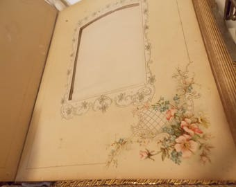 Victorian 1890s 14 Photo Album Pages  Flowers Tattered Frame Collage Display