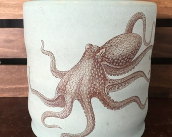 Durable Green Stoneware Squid Utensil Holder