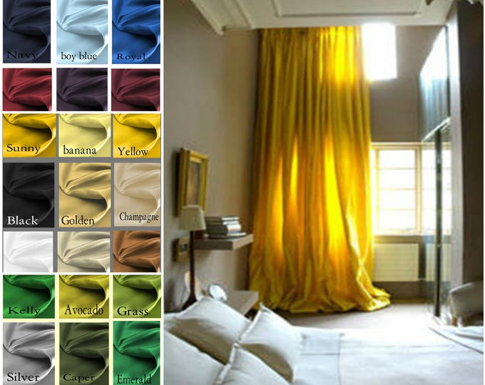Featured listing image: Princess Custom Satin 50 x 63 Drapes Lined -  You pick the color