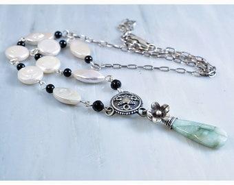 Beryl necklace | gemstone necklace | pearl necklace