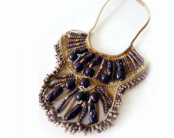 Vintage Macrame Necklace | 1970s Boho Mbeaded Woven Purple Bead Bib Necklace | Festival Ethnic Flair Free People
