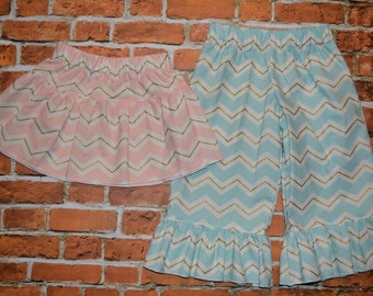 """Girls """"SHABBY CHIC HOLiDAYS"""" collection SKiRT or PANTS blush/aqua/gold metallic chevron  in sizes 6-12-18-24 mth 2T-3-4-5-6-7-8"""