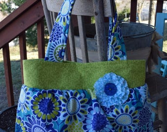 """The """"BETH""""  Bag  in Blue / Green Floral  print fabric"""