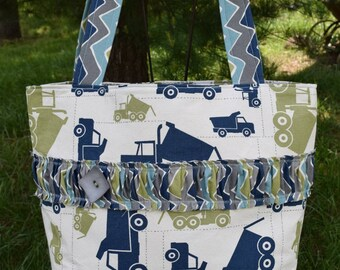 """The """"OUT & ABOUT"""" Tote Bag Shabby Chic design in natural ivory / grey / green / navy prints extra large size trucks and chevron"""