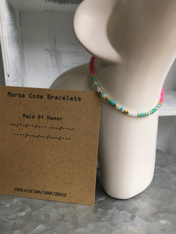 Made of Honor, Morse Code Stretchy Bead Bracelet - Pick your color, Wedding Party, Bride, Made of Honor Bracelets