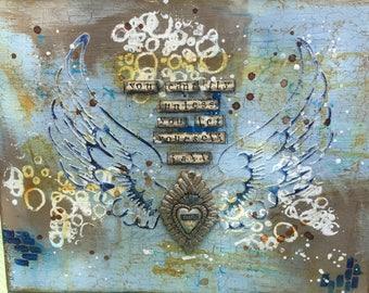 """Mixed Media Canvas  """"Wings of Faith"""""""