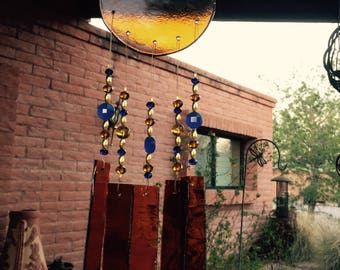 Windchime Amber Glass with Cobalt Blue