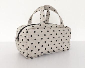 Boston Pouch / Bag in Bag /  Large Cosmetic Pouch - Canvas Natural Small Dots in Jet