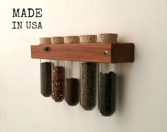 Test Tube Spice Rack, Wall Spice Rack with Glass Test Tubes, Housewarming Gift