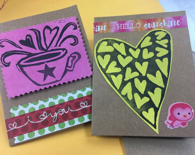 Set of 2 Linoprint Love Cards #2