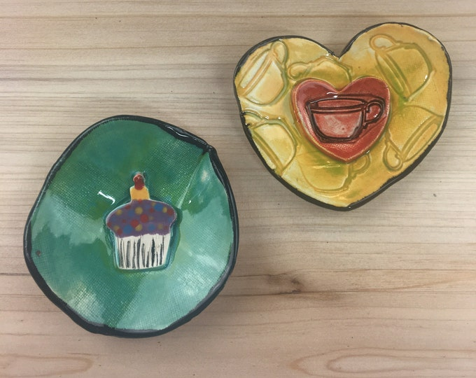 Coffee & Cupcake Ring Dishes SET OF 2