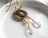 Pink amethyst gemstone and pearl briolette dangle earrings with copper links and gold plated ear hooks