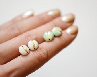 22k Gold Navigation Soft Turquoise - Porcelain Jewelry - Stud Earrings, Nickel Free, titanium