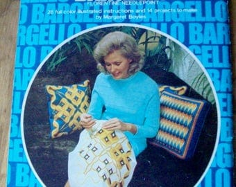 BARGELLO  Florentine Needlepoint  by Margaret Boyles  c1974  canvas embroidery worked in  geometric repeat patterns