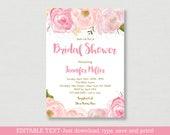 Soft Pink Floral Bridal S...