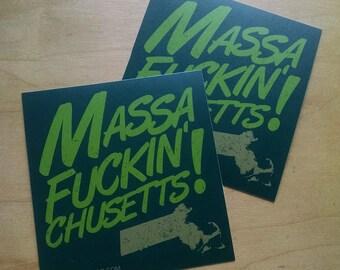 Massa-[effin]-Chusetts! - set of two stickers [massachusetts, typography, boston, masshole]