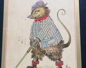 Vintage Golf Postcard President Taft Billy Possum Series Artist Signed Ethel Dewees Anthropomorphic