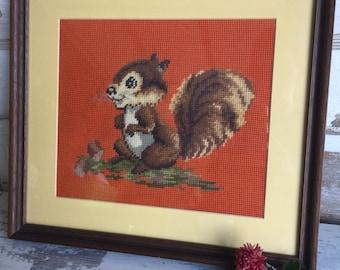 Vintage Needlepoint Crewel Squirrel - Framed - Charming Nursery Art