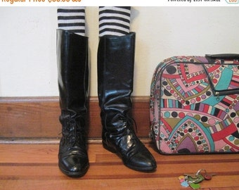 20% OFF SALE size 8.5, vintage Black leather Riding Boots - EQUESTRIAN Prep , horseback, victorian revival