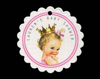 Baby Shower Favor Tags - Baby Girl Tags - Personalized - Baby Girl Princess - Thank You Tag - Bag Tag - Cookie Tag - Pink