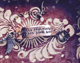 Dreams ~Hand Hammered Copper BRACELET ~ stevie nicks style ~ metal stamped ~ customize With YOUR words or name