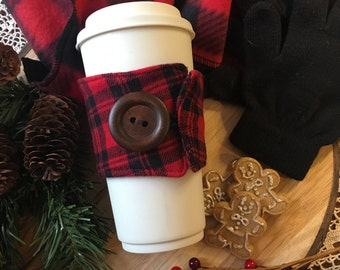 Flannel Coffee Cozy in Red/Black