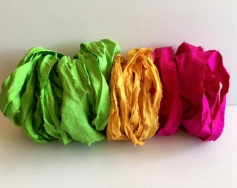 Silk Sari Ribbon-Magenta, Apricot, Lime Recycled Sari Ribbon-9 Yards