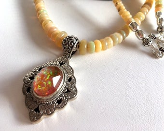 Ethiopian Opal Necklace With Bali Silver & Opal Pendant