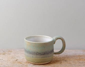 Small Green Grey Stoneware Espresso Cup